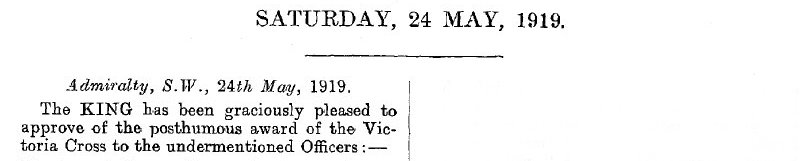 The masthead of the London Gazette of May 23, 1919