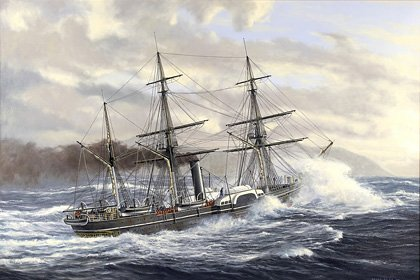 A 1988 painting of 'Birkenhead', painted by marine artist Peter Bilas.
