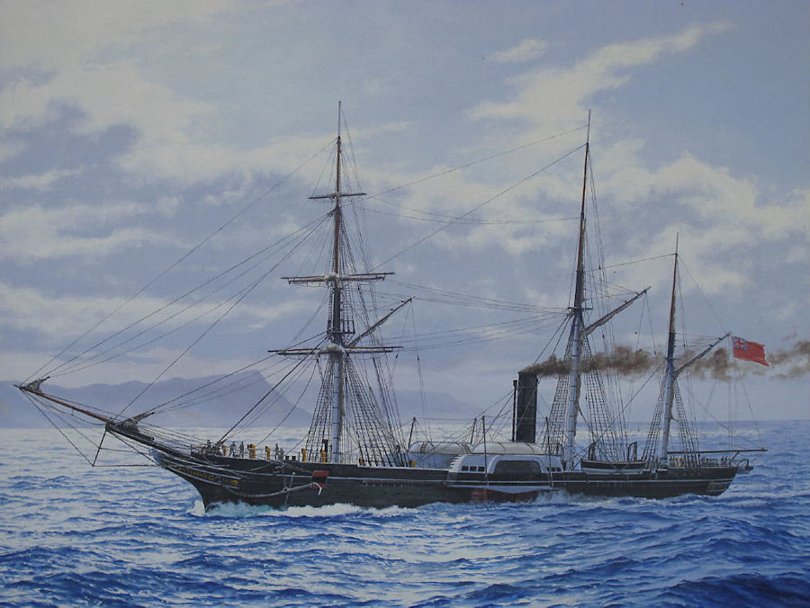 A fine image of a painting by Peter Belas of Birkenhead steaming into False Bay near Simonstown on the day before she was wrecked.</a></p>  Per Wikipedia, the only known picture of the Birkenhead as she existed. See text above.