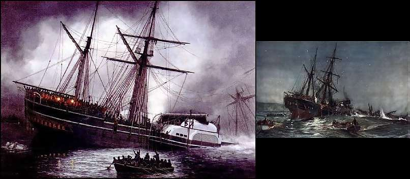 Wreck of the Birkenhead -  two works - unknown and painting by Charles Dixon (1852)