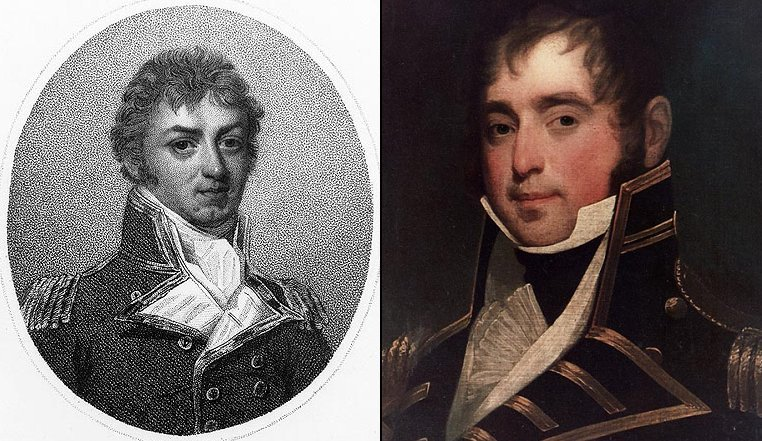 The two antagonists. Captain Philip Broke (left) of the Shannon and Captain James Lawrence of the Chesapeake. See text