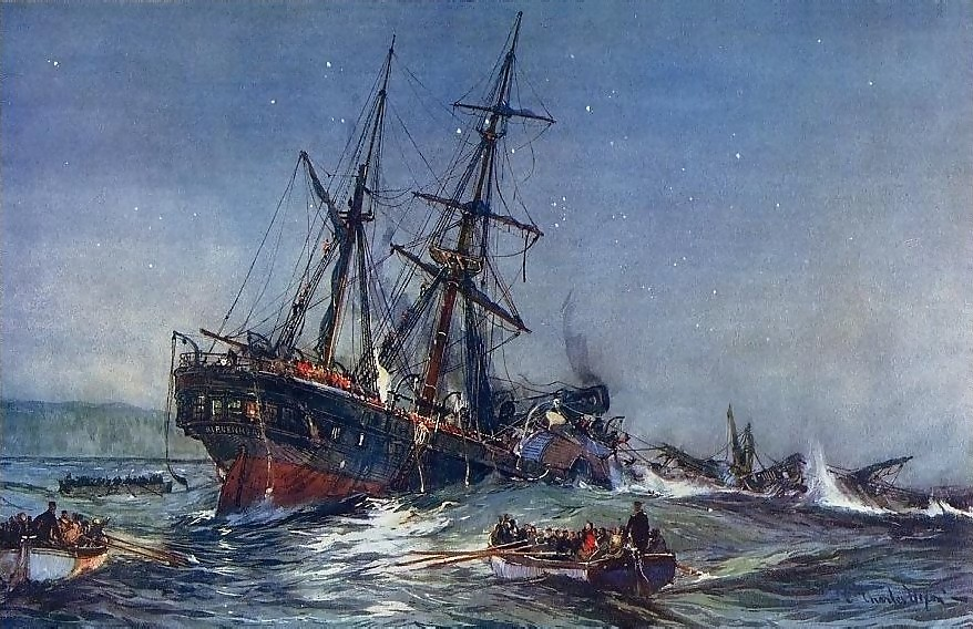The Wreck of the Birkenhead, 1852 - a colour litho published in 1901 of a painting by Charles Dixon, R.I.