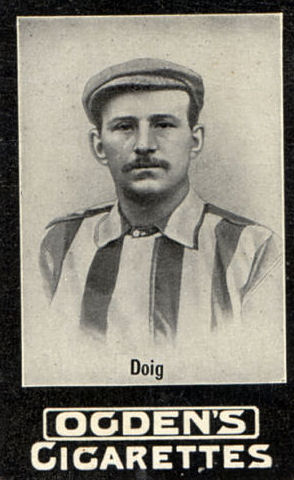 The major portion of an Ogdens Cigarette card featuring Ted Doig, a famous name in Sunderland's football history, who played from the 1890s until the early 1900s.
