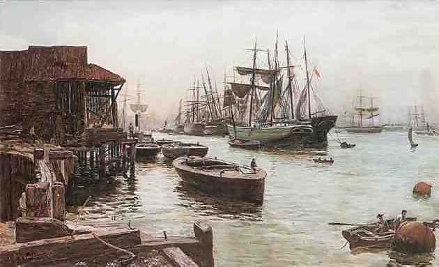 Boats at dock on the river - watercolour by Thomas M. M. Hemy