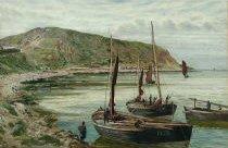 Fishing Boats at Berwickshire Coast by Thomas M. M. Hemy - An 1875 watercolour