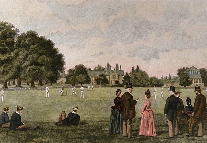 Cricket at Rugby by Thomas M. M. Hemy c.1887 perhaps