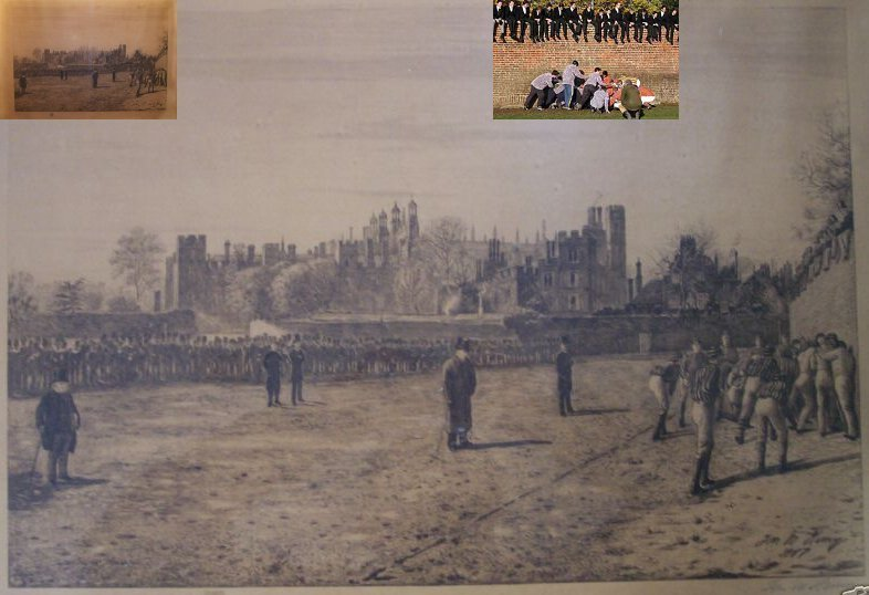 Eton Wall Game Print (artist Thomas M. M. Hemy) 1887 with additions.
