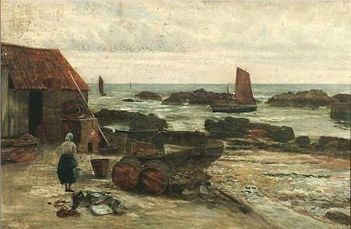 A Fishing Village on the East Coast by Thomas M. M. Hemy, 1875