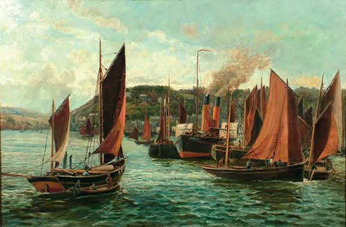 Lowestoft Harbour by Thomas M. M. Hemy, 1876