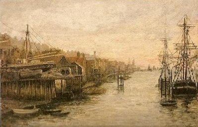 North Shields, an 1891 watercolour work by Thomas M. M. Hemy.