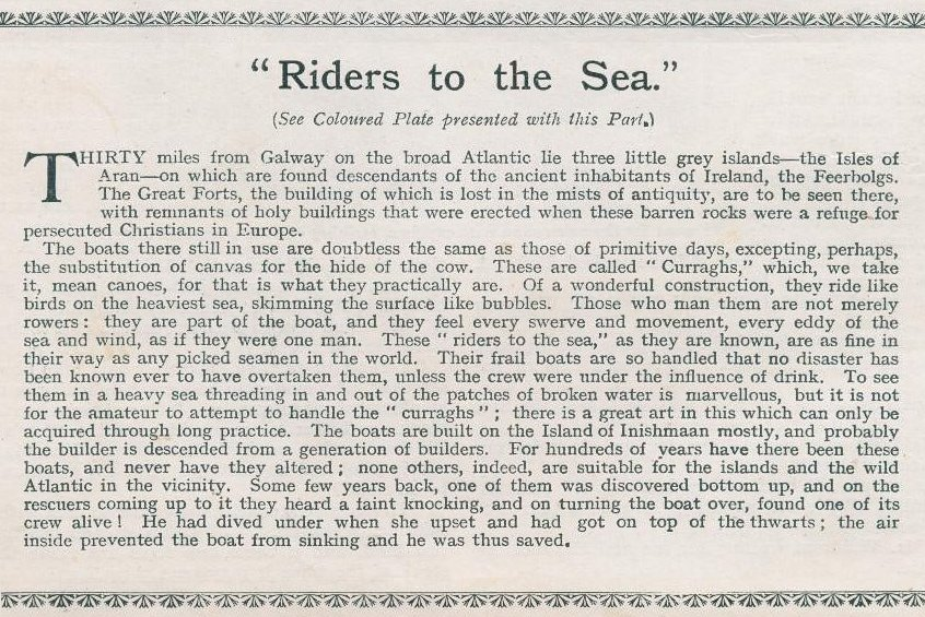 The text which accompanied Riders to the Sea in the Boy's Own Paper Annual re 1913/14.