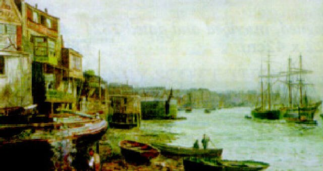 Shadwell Basin, Wapping Wall, on the Thames, an 1884 watercolour  work by Thomas M. M. Hemy.