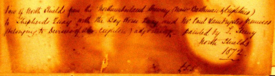 Inscription on rear of watercolour by 