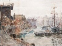 The Wear at Dawn, Deptford, an 1883 watercolour by Thomas M. Hemy