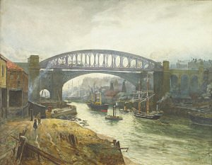 A most similar Thomas M. Hemy 1882 watercolour - Tyne and Wear River Scene, Sunderland