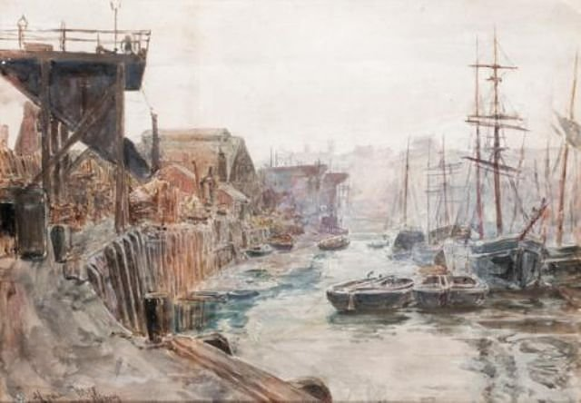 Wilson's Timber Yard, North Quay, Sunderland by Thomas M. Hemy, date unknown