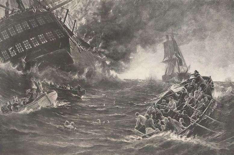 Burning of the Kent by Thomas M. M. Hemy