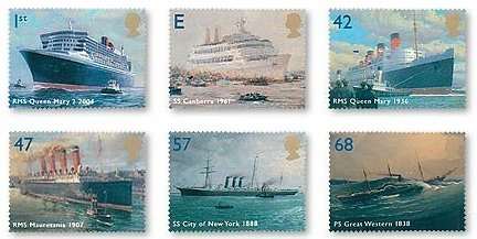 Ocean Liner stamp series issued on April 13, 2004 in the U.K.