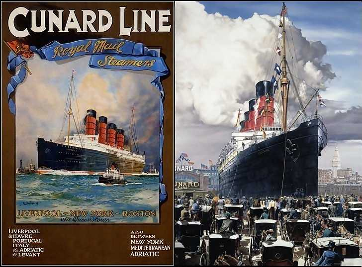 Reproduction of contemporary Lusitania poster and a fine jigsaw puzzle of Lusitania