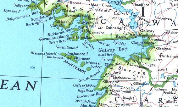 Map section showing the location of the Aran Islands in Galway Bay