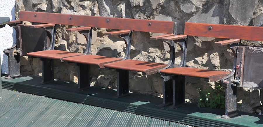 Some of the old spectator seats ex the demolished Roker Park.