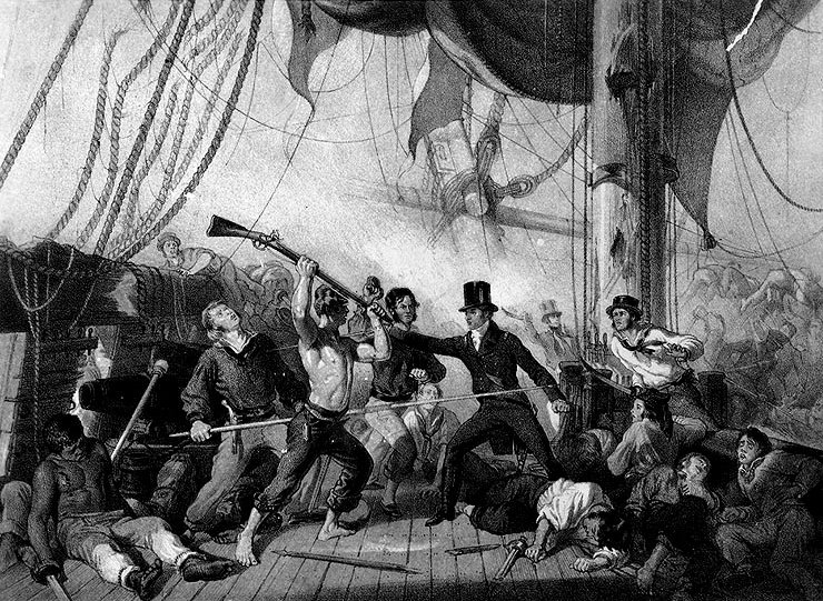TREACHEROUS ATTACK ON CAPTAIN BROKE, BY THREE OF THE CHESAPEAKE'S MEN, ON HER FORECASTLE. See text