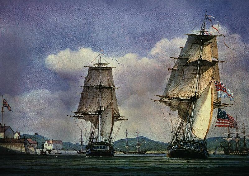 Most of a painting depicting the arrival of the Shannon and the Chesapeake at Halifax, Nova Scotia on June 6, 1813. See text