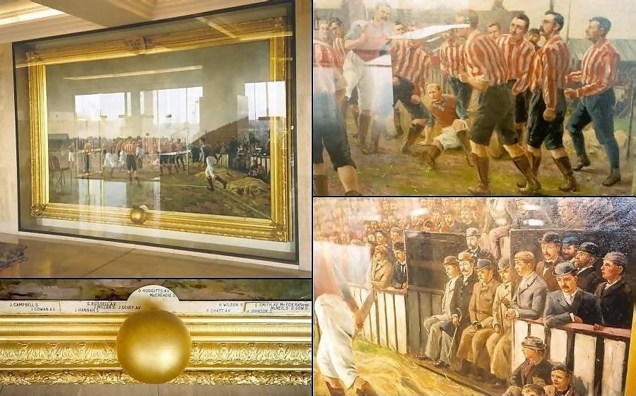Multiple images of the Hemy work 'Sunderland v Aston Villa 1895' in situ.