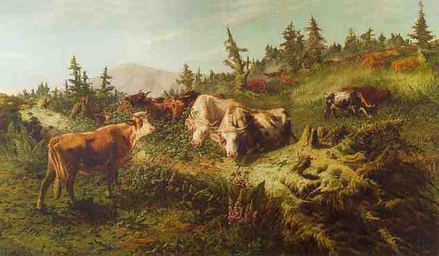 Schenck 1868 work. Title 'Cows in a mountain landscape'. See text.