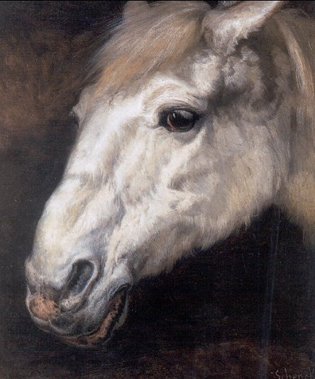 Schenck work. The head of a horse, probably a descriptive phrase rather than a true title.