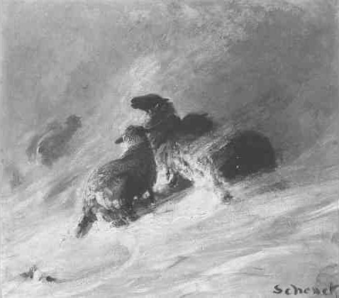 Schenck work entitled, perhaps Sheep in a Blizzard. See text.