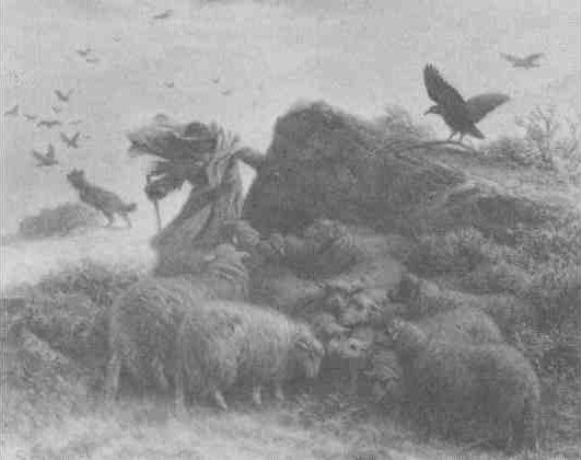 Schenck work entitled, perhaps, Sheep in Snowstorm. See text.