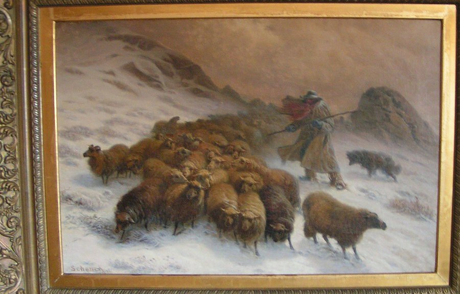 Schenck work entitled 'Sheep in a snow storm' Date unknown but certainly no later than 1892.