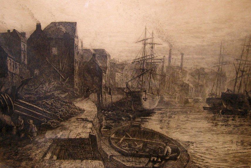 Thomas M. Hemy Etching entitled 'Old Sunderland'