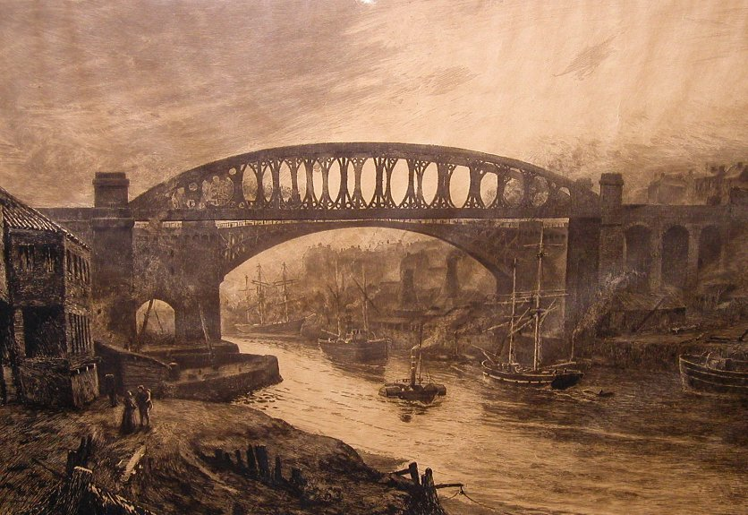 Thomas M. Hemy Etching - Tyne and Wear River Scene