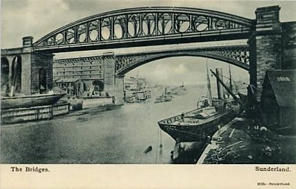 1) Sunderland Bridges - postcard image from 1910. Taken from the west.