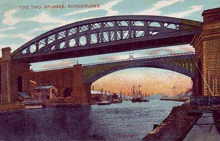 2) Sunderland Bridges. Postcard image from 1913. Taken from the west.