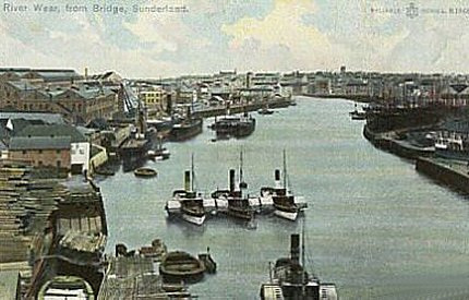 4) River Wear at Sunderland. Looking east from the road bridge. Date unknown. Stated to be the photo of W. Coates of Sunderland