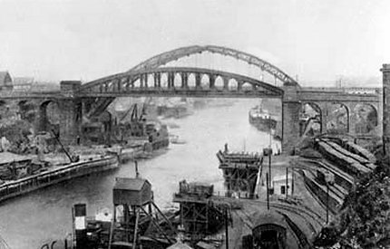 5) View of the Lambton drops looking eastwards to the bridges from the west. Date unknown.