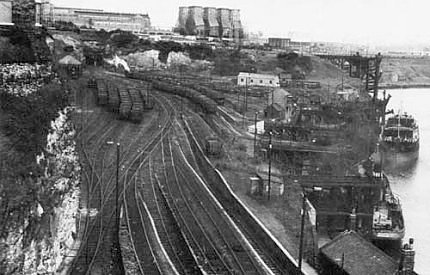 6) View of the Lambton drops. A 1966 image. 'Lambton Staithes on the River Wear in Sunderland in July 1966, the  destination of most Lambton coal, with the Hetton Railway staithes beyond. (C. J. Kenyon)