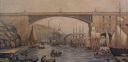 A print dating from c. 1860 of the road bridge at Sunderland.