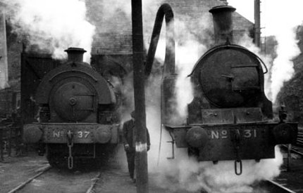8) Locomotives # 37 & # 31 at Sunderland Lambton Staithes loco shed. October 1966 photograph by Peter Proud.