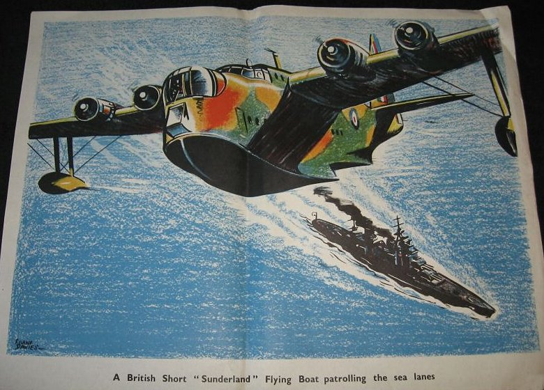 A dramatic 1940s poster of the 'Short Sunderland' on patrol by artist P. E. Davies'