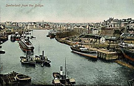 10) River Wear at Sunderland. Looking east from the road bridge. This card better shows the south bank at right.