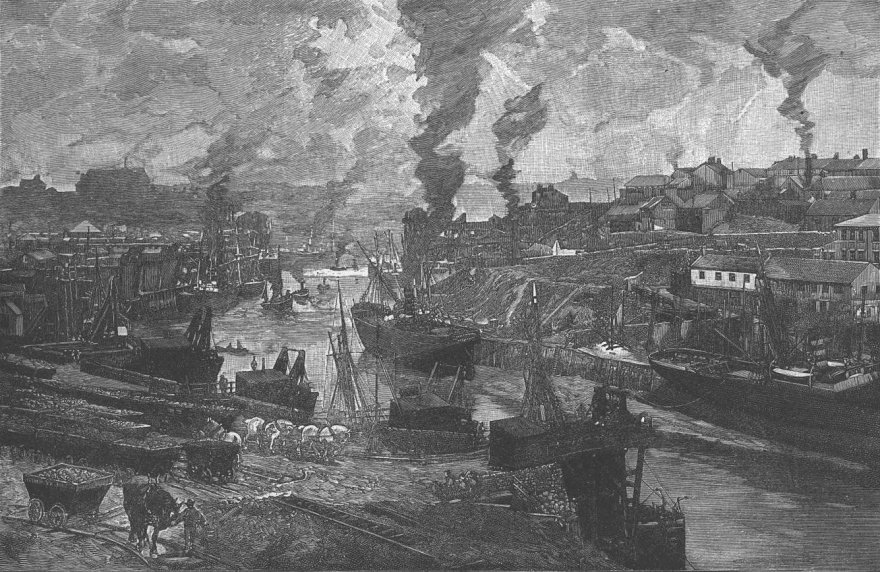 11) River Wear at Sunderland. Looking west from the railway bridge. A print dating from 1892.