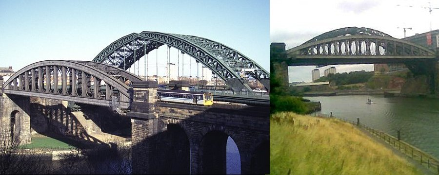 The 1879 railway bridge in an image by Ian Britton - can be viewed on FreePhoto.com and an August 2006 image by Andy Dennis