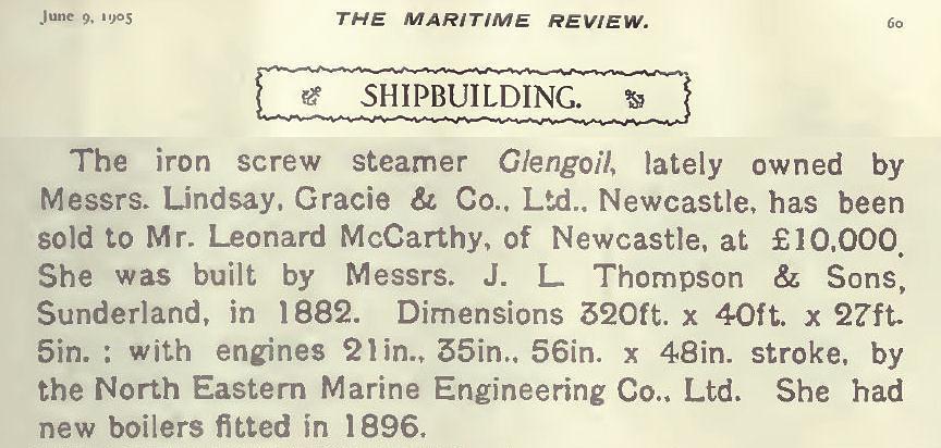 'Glengoil', built in 1882.