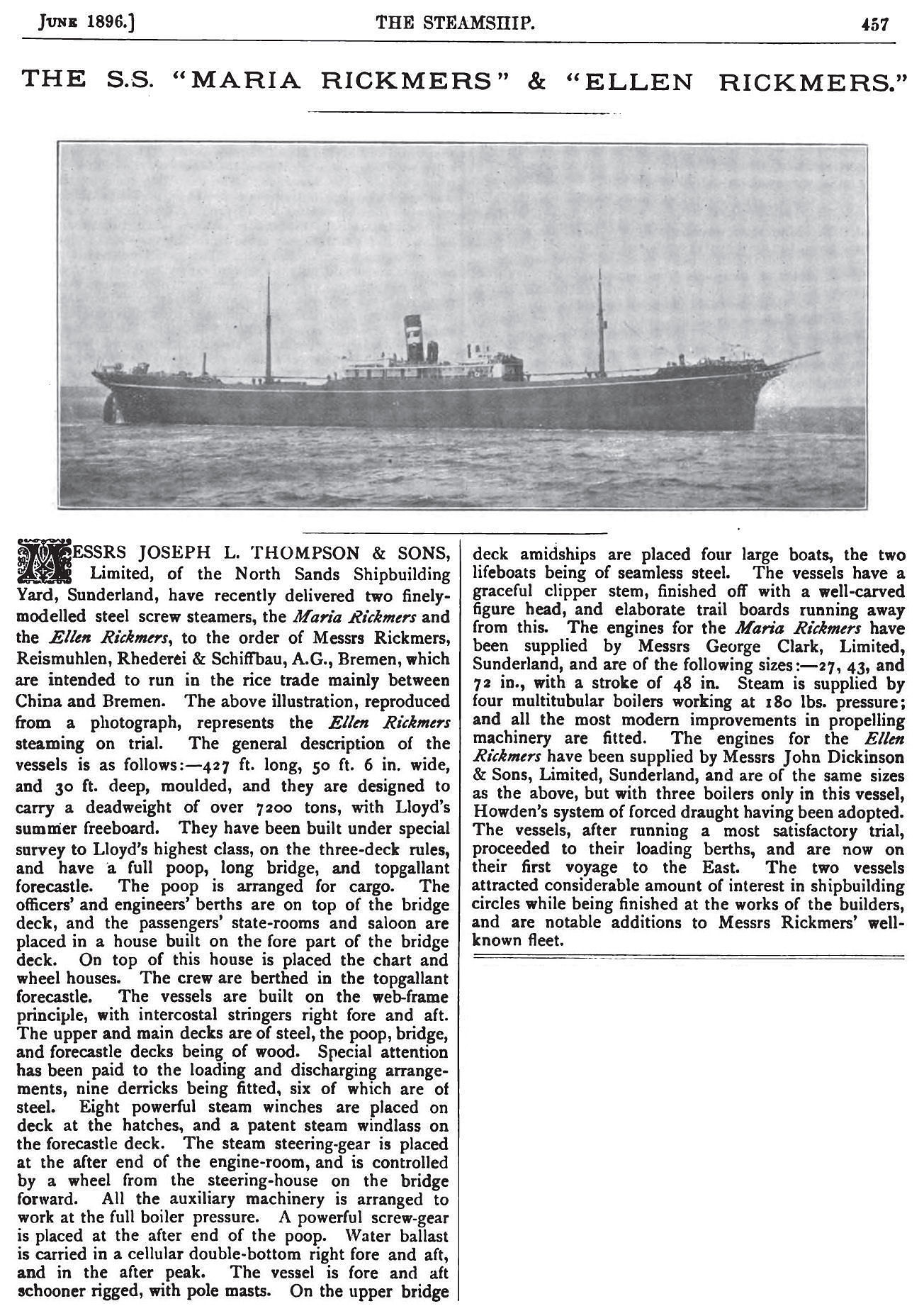 'Ellen Rickmers', built in 1896, ex The Steamship: An Illustrated Monthly Journal Devoted to the Interests of Shipbuilders, Marine Engineers, Electricians, and Shipowners, Vol. VII - July 1895 to June 1896. On page 457.