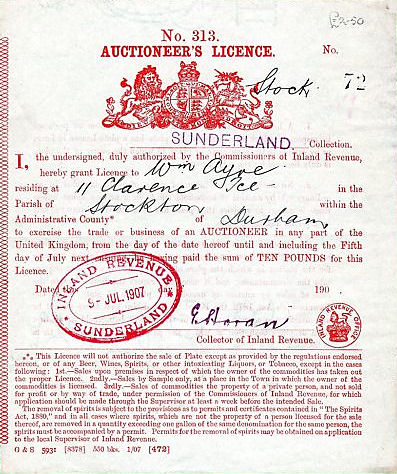 A 1907 Sunderland auctioneers' licence.