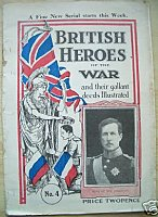 The cover of a WWI 48 page paperback 'British  Heroes of the War' with references to Captain Noel Grant.